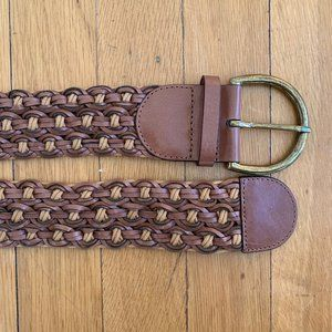 Loft Wide Variegated Woven Belt Brass Buckle XS